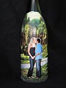 Romance Glass Art - Custom Order Wine Bottle Crafts  by Kris Crollard
