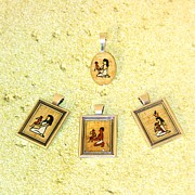 Necklace Jewelry Prints - Custom Parents Amulet Egyptian Papyrus Necklace Print by Pet Serrano
