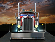 Road Trip Digital Art Framed Prints - Custom Peterbilt Framed Print by Stuart Swartz