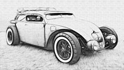 Vw Squareback Framed Prints - Custom VW Bug Sketch Framed Print by Steve McKinzie