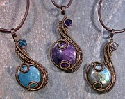 Wire-wrapped Jewelry Originals - Customizable Bronze Coriolis Pendant by Heather Jordan