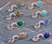 Malachite Jewelry - Customizable Gemstone Coin and Silver Woven Tail Shawl Pin/Brooch by Heather Jordan