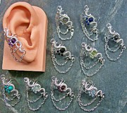 Wire-wrapped Jewelry Originals - Customizable Gemstone Floral Ear Cuff with Chain by Heather Jordan