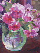Impressionist Vase Floral Paintings - Cut Flowers in Glass by David Lloyd Glover