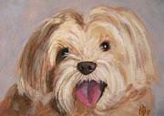 Robie Benve Prints - Cute and Happy Dog Portrait Print by Robie Benve