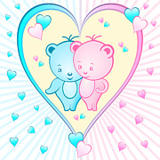 Lovable Digital Art - Cute bear cartoons in a heart by Toots Hallam