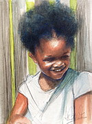 Degroat Painting Originals - Cute Black Child by Gregory DeGroat