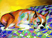 Coy Art Prints - Cute Boxer Dog portrait painting Print by Svetlana Novikova