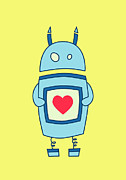 Boriana Giormova Framed Prints - Cute Clumsy Robot With Heart Framed Print by Boriana Giormova