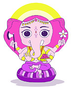 Ganesh Digital Art Framed Prints - Cute Ganesh Framed Print by Ghita Andersen