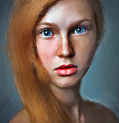 Young Lady Digital Art Prints - Cute Girl Portrait Print by Yury Malkov