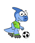 Dinosaur Soccer Prints - Cute Illustration Of A Parasaurolophus Print by Stocktrek Images