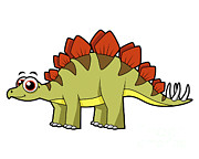Cartoon Dinosaurs Prints - Cute Illustration Of A Stegosaurus Print by Stocktrek Images