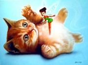 Cute Kitten Originals - Cute Kitten And Fairy by Amatzia Baruchi