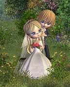 Garden Scene Digital Art Posters - Cute Toon Wedding Couple in a Garden Poster by Fairy Fantasies