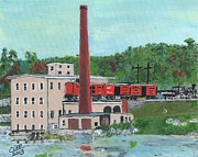 Boston Ma Painting Metal Prints - Cutlers Mill - Circa 1870 Metal Print by Cliff Wilson