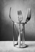 Grey Fine Art Prints - Cutlery Print by Kristin Kreet