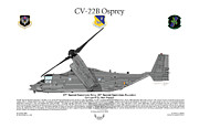Aircraft Artist Framed Prints - CV-22B Osprey 20th SOS Framed Print by Arthur Eggers