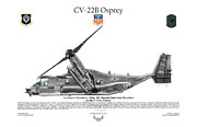 Osprey Tapestries Textiles - CV-22B Osprey 8th SOS by Arthur Eggers