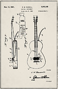 Acoustic Guitar Digital Art - CW Russell Acoustic Electric Guitar Patent 1939 by Digital Reproductions