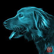Golden Retriever Mixed Media - Cyan Golden Retriever - 4047 F by James Ahn