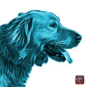 Retriever Digital Art - Cyan Golden Retriever - 4047 FS by James Ahn