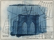 Sun Print Prints - Cyanotype Brooklyn Bridge II Print by Jane Linders