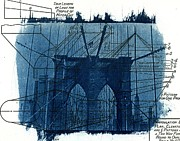 Blue Print Posters - Cyanotype Brooklyn Bridge III Poster by Jane Linders