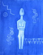 Goddess Birth Art Prints - Cycladic Goddess - left panel Print by Diana Perfect