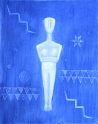 Goddess Birth Art Prints - Cycladic Goddess - middle panel Print by Diana Perfect