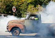 Old Trucks Photo Metal Prints - Cyclemos Rat Rod Burnout Pit  Metal Print by Wilma  Birdwell
