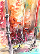 Cycling Drawings Framed Prints - Cycling in Italy 02 Framed Print by Miki De Goodaboom