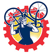 Mechanic Prints - Cyclist Bicycle Mechanic Carrying Bike Sprocket Retro Print by Aloysius Patrimonio