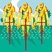 Featured Art - Cyclist Riding Bicycle Cycling Retro by Aloysius Patrimonio