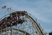 Amusements Prints - Cyclone Roller Coaster - Coney Island Print by Susan Carella