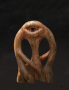 Olive Wood Sculpture Posters - Cyclops in the stars Poster by Eric Kempson