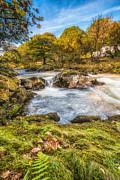 Autumn Landscape Digital Art Prints - Cyfyng Falls Print by Adrian Evans