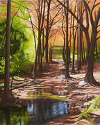 Riverbed Paintings - Cypress Creek in Autumn by Gary  Hernandez