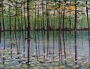 Trees Reflecting In Water Painting Posters - Cypress Garden Poster by Richard Goohs