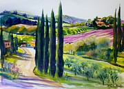 Therese Fowler-bailey Metal Prints - Cypress Olives and Lavender of Chianti Metal Print by Therese Fowler-Bailey