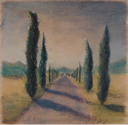 Europe Pastels - Cypress Tree Lined Road in Tuscany Italy by Logan Marlatt Gerlock