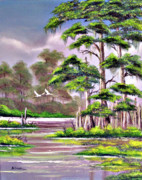 Snowy Egrets Painting Posters - Cypress Trees-Wakulla River Florida Poster by Bill Holkham