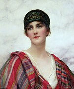 Striped Scarf Framed Prints - Cyrene Framed Print by William Clark Wontner
