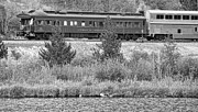 Black And White Mountain Prints Framed Prints - Cyrus K  Holliday Private Rail Car BW Framed Print by James Bo Insogna