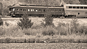 Caboose Prints - Cyrus K  Holliday Private Rail Car BW Sepia Print by James Bo Insogna