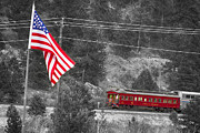 Red White And Blue Prints Prints - Cyrus K. Holliday Rail Car and USA Flag BWSC Print by James Bo Insogna