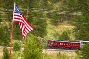 Colorado Flag Posters - Cyrus K. Holliday Rail Car and USA Flag Poster by James Bo Insogna