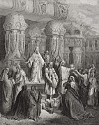 White Drawings Posters - Cyrus Restoring the Vessels of the Temple Poster by Gustave Dore