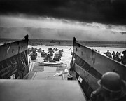 Beach Photo Framed Prints - D-Day Landing Framed Print by War Is Hell Store