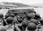 (united States) Prints - D-Day Soldiers In A Higgins Boat  Print by War Is Hell Store
